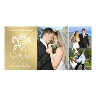 Elegant Reindeer Gold Christmas Photo Collage Card Customized Photo Card