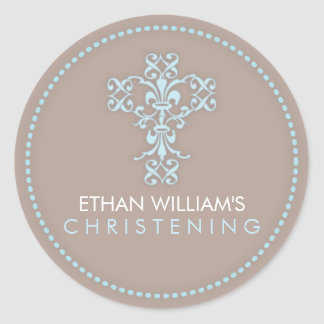 Elegant Religious Celebration Cross in Blue Round Sticker