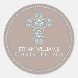 Elegant Religious Celebration Cross in Blue Round Sticker