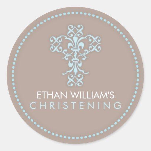 Elegant Religious Celebration Cross in Blue Sticker