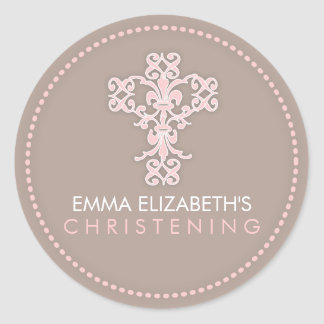 Elegant Religious Celebration Cross in Pink Classic Round Sticker