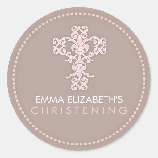 Elegant Religious Celebration Cross in Pink Round Sticker