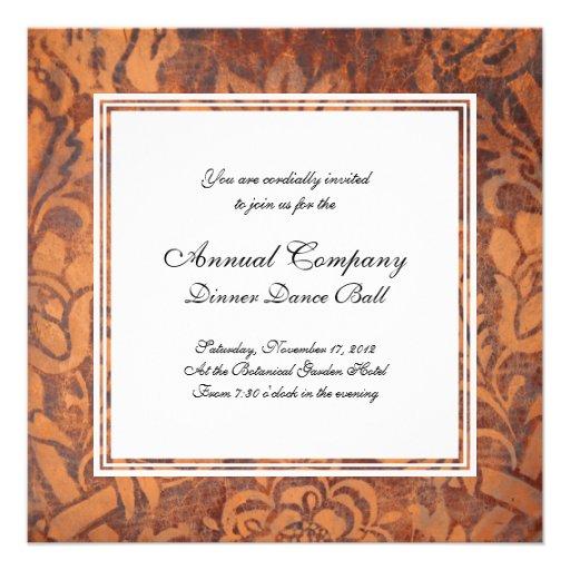 Elegant Renaissance Antique Leather Damask Personalized Announcements