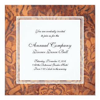 Elegant Renaissance Antique Leather Damask 5.25x5.25 Square Paper Invitation Card