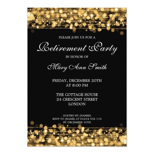 elegant retirement party gold sparkles invitation zazzle com au