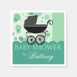 Elegant Retro Carriage Baby Shower Party aqua Disposable Napkins