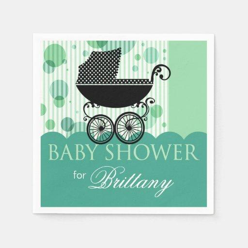 Elegant Retro Carriage Baby Shower Party | aqua Disposable Napkins
