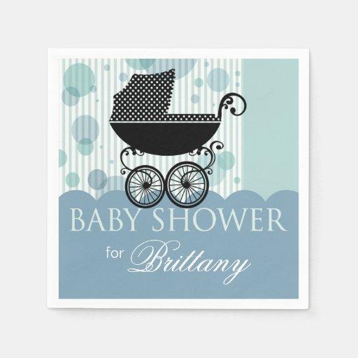 Elegant Retro Carriage Baby Shower Party blue Disposable Napkin