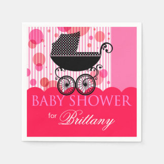 Elegant Retro Carriage Baby Shower Party hot pink Paper Serviettes