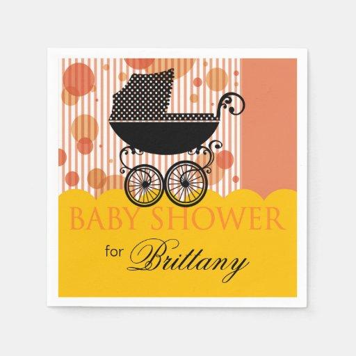 Elegant Retro Carriage Baby Shower Party marigold Paper Napkins