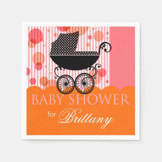 Elegant Retro Carriage Baby Shower Party orange Paper Napkin
