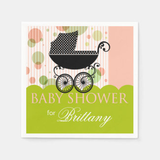 Elegant Retro Carriage Baby Shower Party pink lime Disposable Napkins