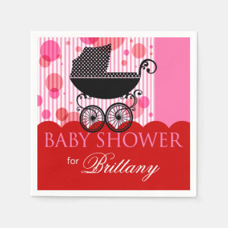 Elegant Retro Carriage Baby Shower Party red Disposable Serviette