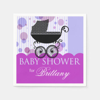 Elegant Retro Carriage Baby Shower Party violet Disposable Napkin