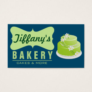 Elegant Retro Cute Cake Shop   Blue Green   Bakery Business Card
