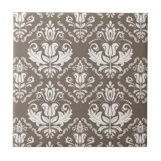 Elegant Retro Ivory Damask Brocade Brown Pattern Small Square Tile