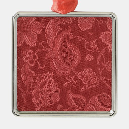 Elegant Retro Vintage Cranberry Square Ornament