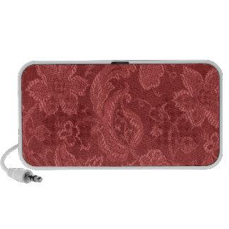 Elegant Retro Vintage Floral Cranberry Red Speaker