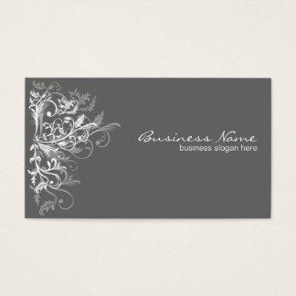 Elegant Retro White Flower Swirls Dark Grey