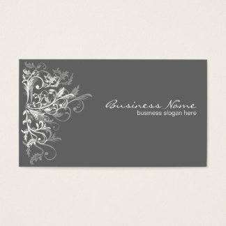 Elegant Retro White Flower Swirls Dark Grey Business Card