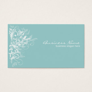 Elegant Retro White Flower Swirls Turquoise