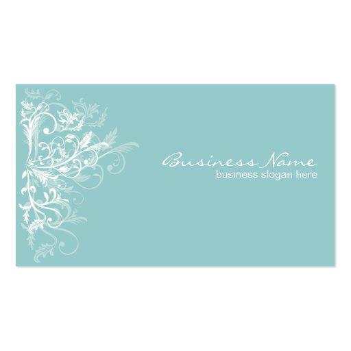 Elegant Retro White Flower Swirls Turquoise Business Card Templates