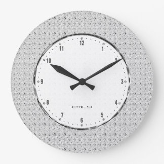 Elegant Retro White Glitter And Sparkles 2 Large Clock