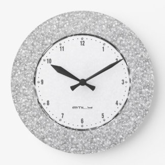 Elegant Retro White Glitter And Sparkles Large Clock