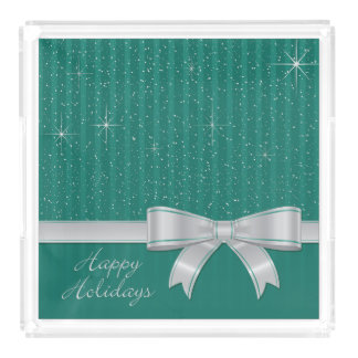 Elegant ribbon and stars acrylic tray