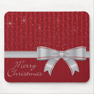 Elegant ribbon and stars mouse pad