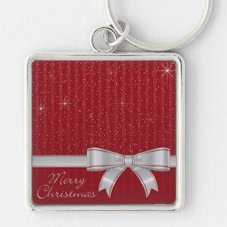 Elegant ribbon and stars Silver-Colored square key ring