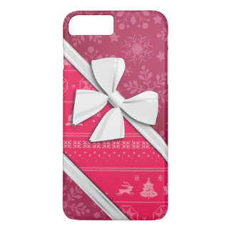 Elegant Ribbons and Christmas Pink Snow iPhone 7 Plus Case