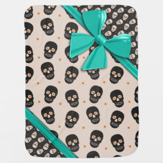 Elegant Ribbons and Skulls Halloween Baby Blanket