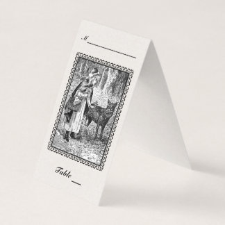 Elegant Riding Hood Wolf black White Drawing Frame Card