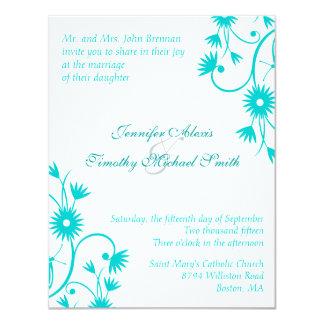 Elegant Robin's Egg Blue floral wedding invitation