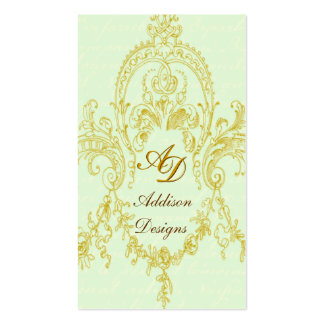 Elegant Rococo Frame Gold & Green Business Cards