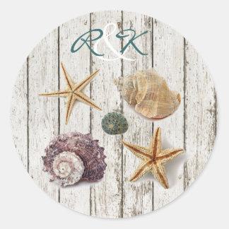 elegant romantic cottage seashells beach wedding round sticker