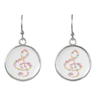 elegant romantic floral music treble clef earrings