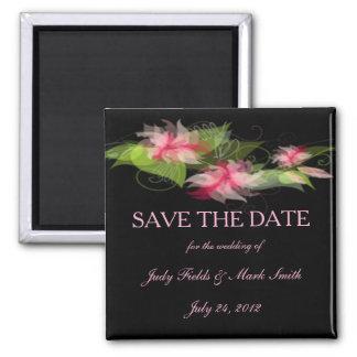 Elegant Romantic Pink Flower Save The Date Magnet