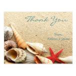 elegant romantic sand seashells beach wedding post cards