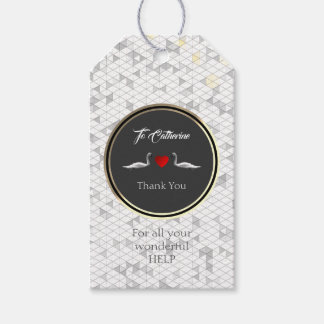 Elegant Romantic Swans with Pattern Gift Tags