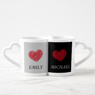 Elegant romantic sweet hearts/ add name coffee mug set