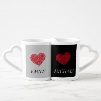 Elegant romantic sweet hearts/ add name lovers mug sets
