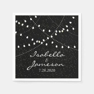 Elegant Romantic Wedding Twinkle String Lights Paper Serviettes