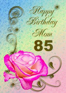 Elegant Rose 85th Birthday Card For Mom