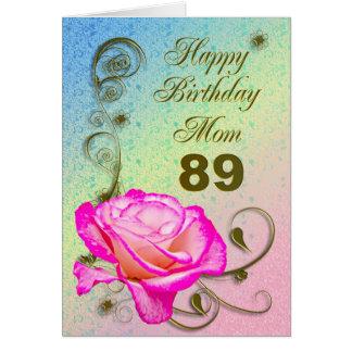 Elegant rose 89th birthday card for Mom