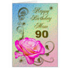Elegant rose 90th birthday card for Mum