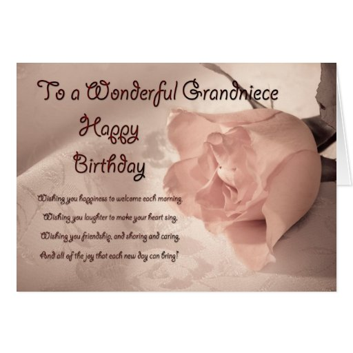 Elegant rose birthday card for grandniece