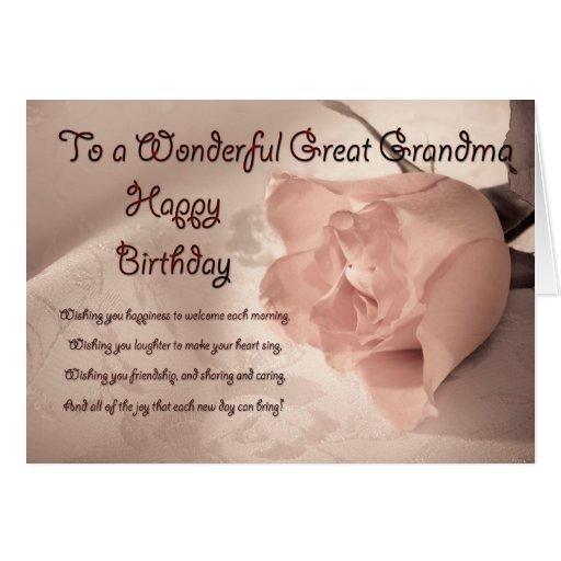 Elegant rose birthday card for great grandma