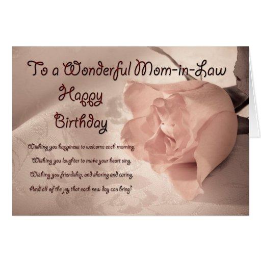Elegant rose birthday card for mom-in-law